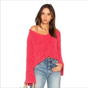 Free People Sand Dune V-Neck Nubby Knit Bell Sleeve Pullover Sweater Pink Size L